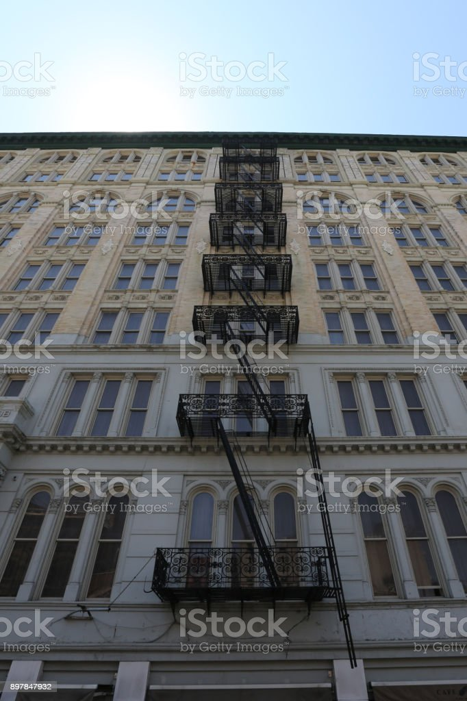 Fire Escape Ladder. America, New York City - May 11, 2017 stock photo
