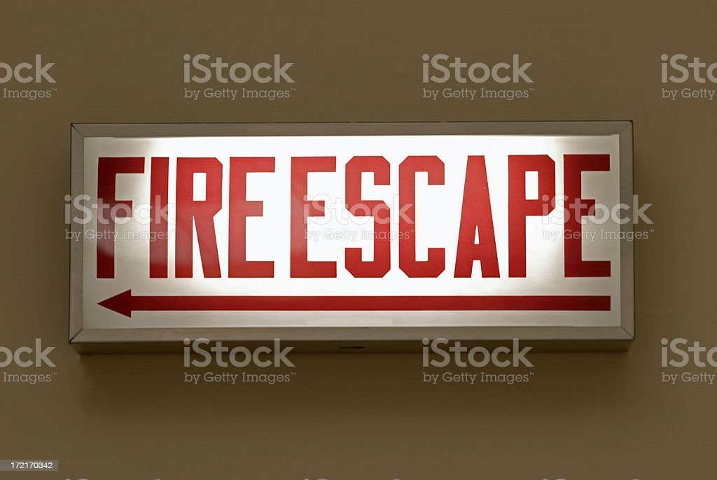 Fire Escape Sign royalty-free stock photo