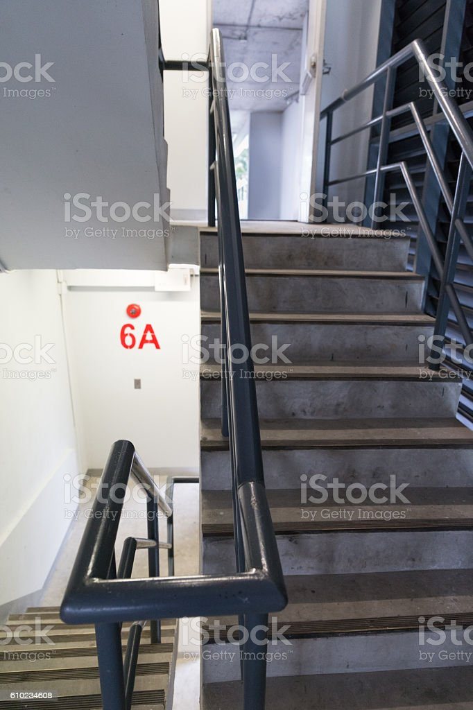 fire escape stair in building stock photo
