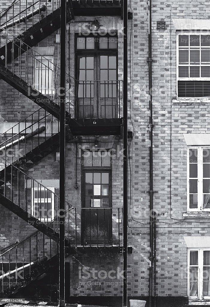 Fire escape, staircase - British building stock photo