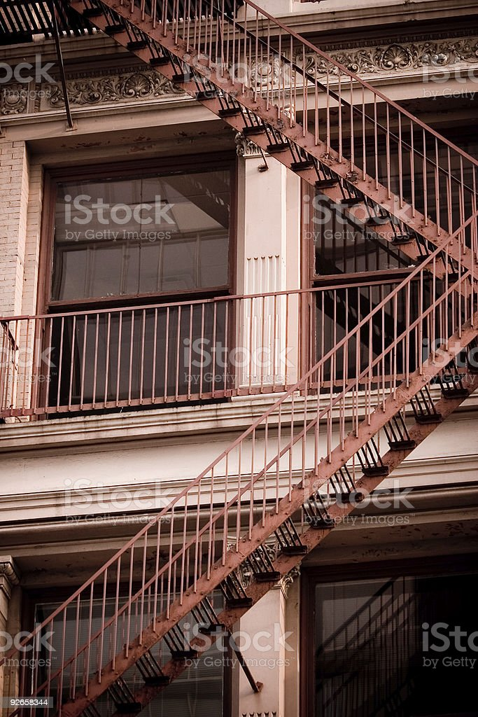 Fire Escape Stairs on Old Building royalty-free stock photo