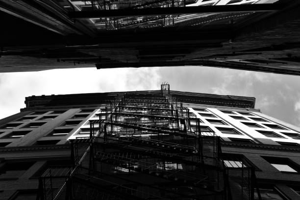 Fire Escapes and Sky stock photo