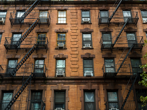 Fire Escapes In New York City Stock Photo - Download Image Now