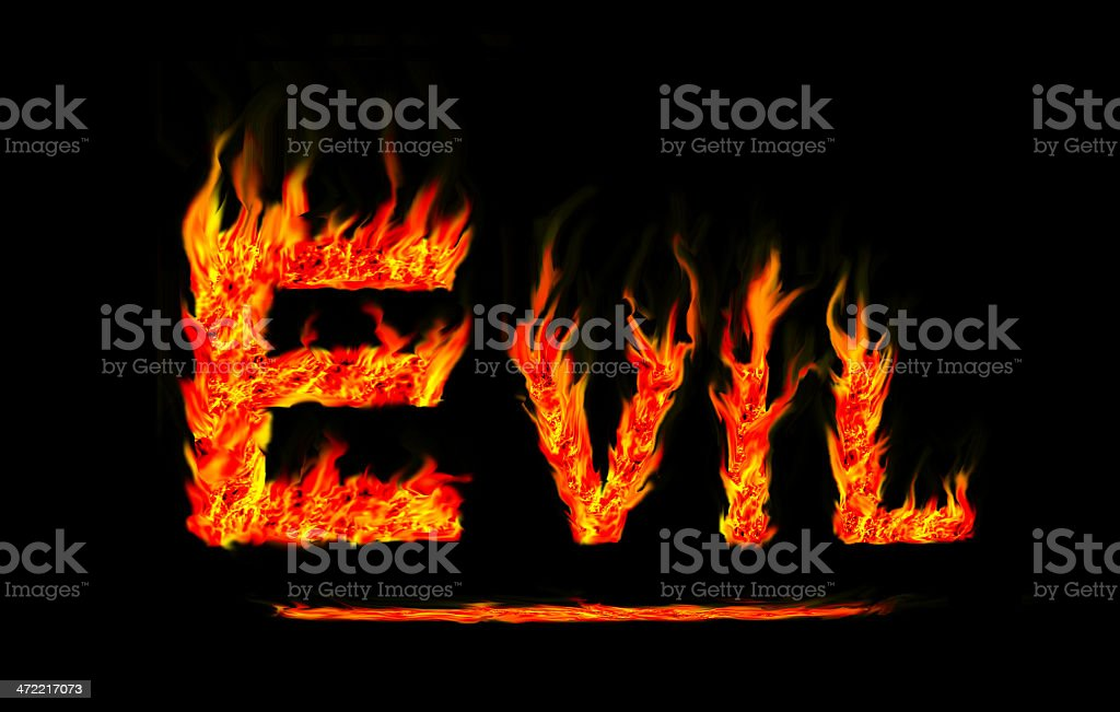Fire evil text royalty-free stock photo