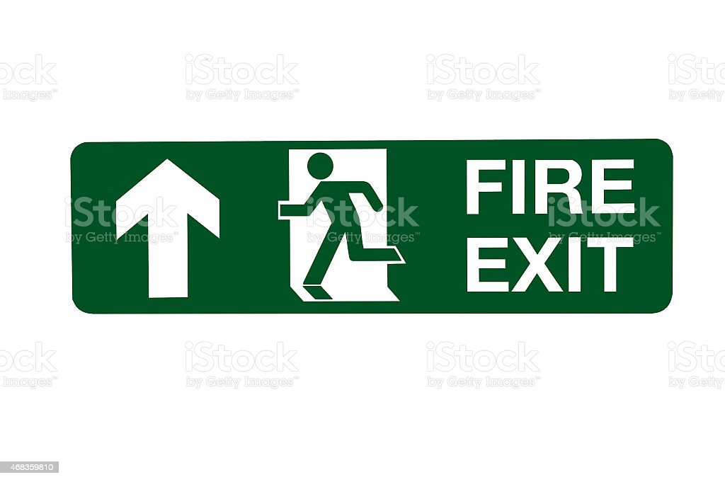 Fire Exit Direction Sign - Ahead royalty-free stock photo