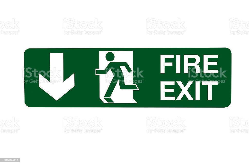 Fire Exit Direction Sign - Below royalty-free stock photo