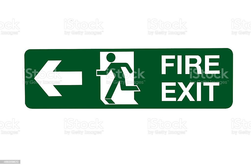Fire Exit Direction Sign - Left. royalty-free stock photo