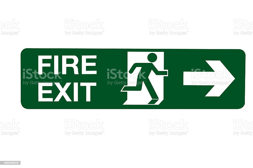 Fire Exit Direction Sign - Right. royalty-free stock photo