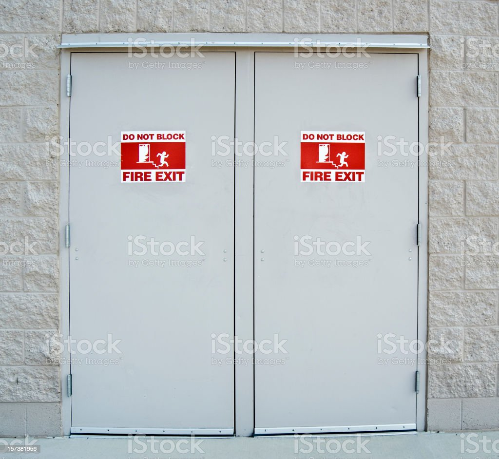 Fire Exit Doors with International Emergency  Pictogram Symbol stock photo