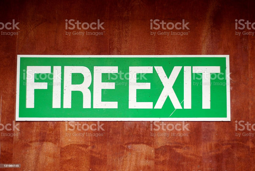 Fire exit green sign royalty-free stock photo