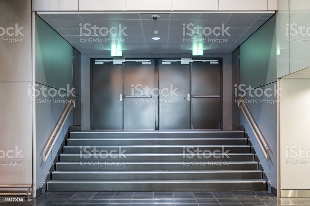 Fire exit metallic doors with staircase royalty-free stock photo & Fire Exit Metallic Doors With Staircase Stock Photo u0026 More Pictures ...