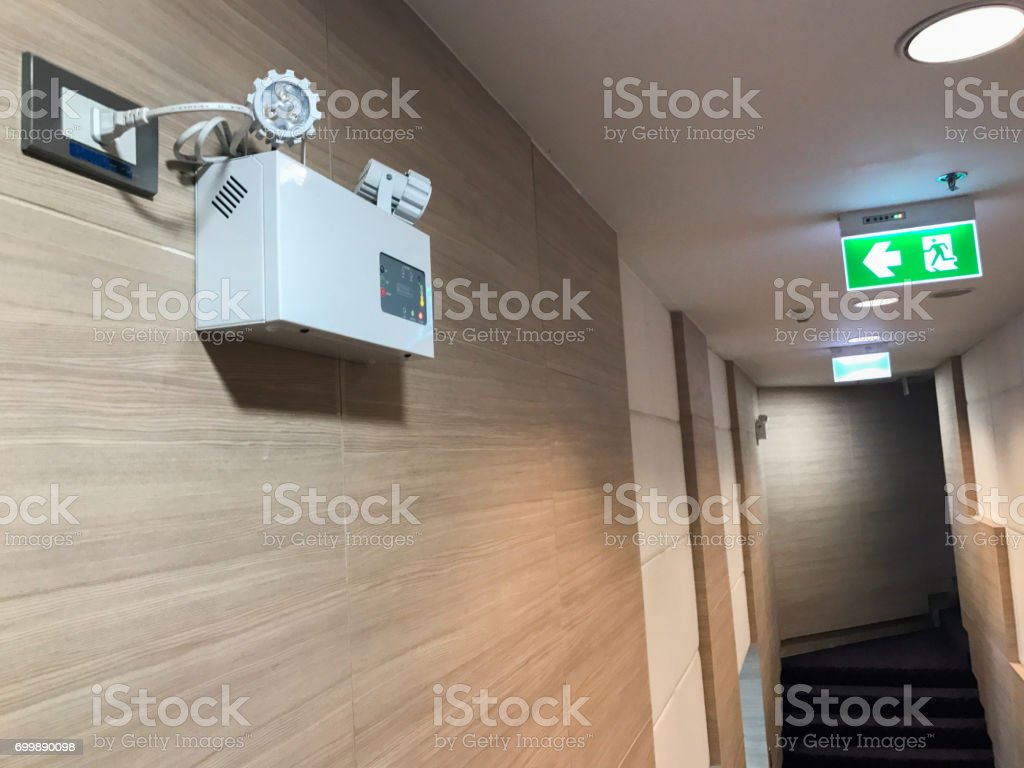 fire exit sign in seminar room stock photo