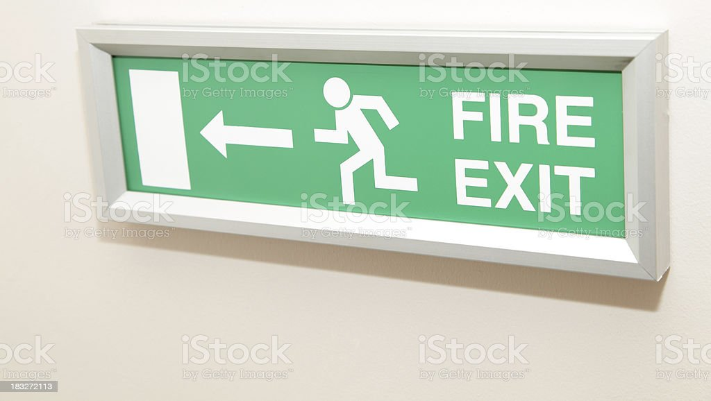 \'A new, wall mounted, fire exit sign.\'