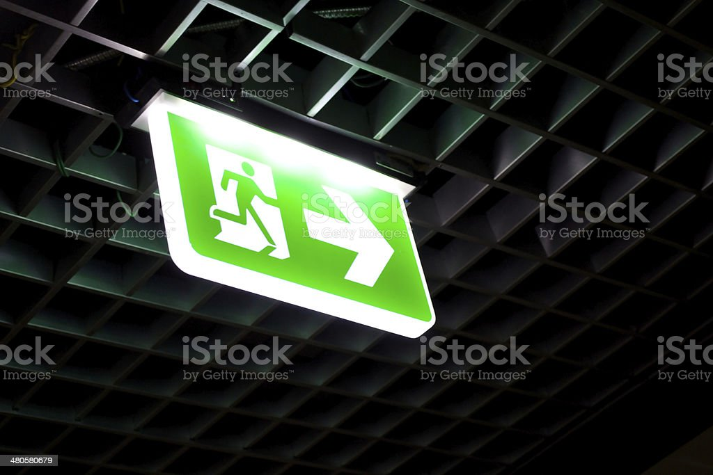 Fire exit signs stock photo