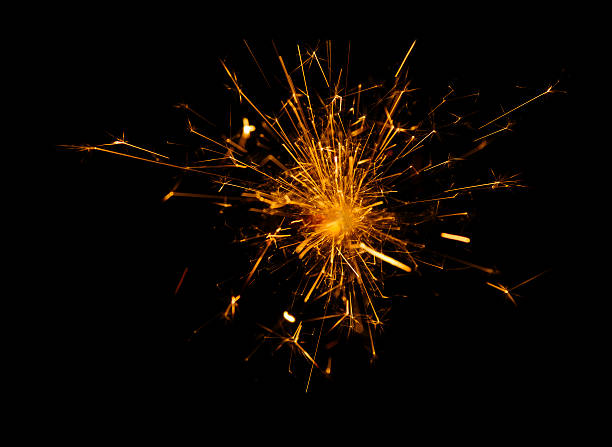 fire explosion, flames on black background stock photo