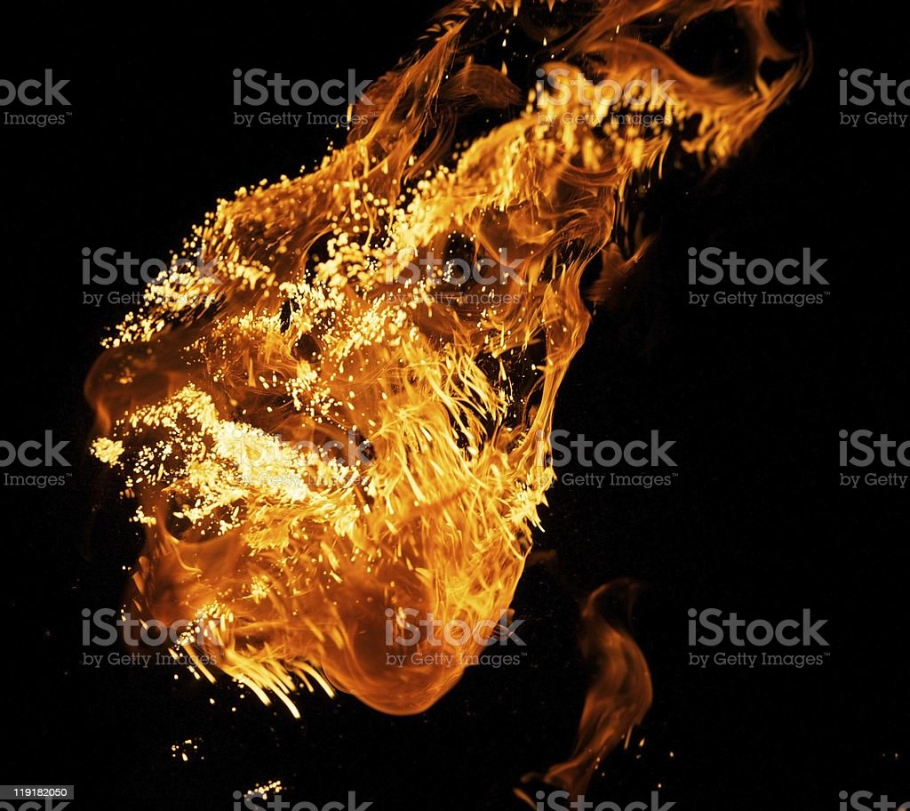 Fire explosion isolated on black background royalty-free stock photo
