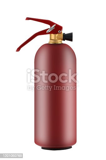 A fire extinguisher 1kg showing release pin isolated on white with clipping path