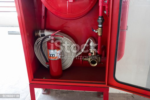 istock Fire extinguisher and fire hose reel 925669118