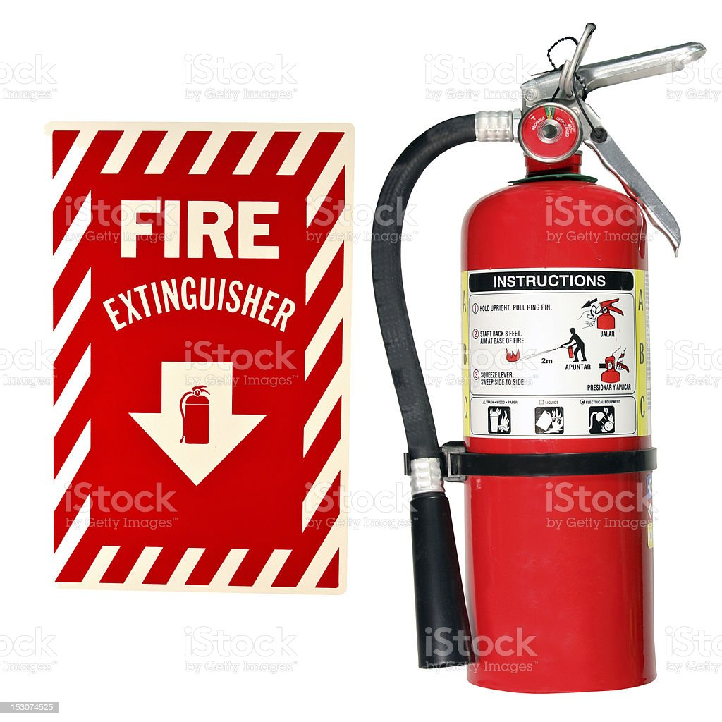 fire extinguisher and sign isolated stock photo