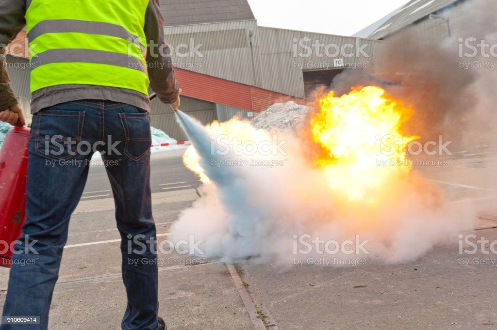 Feuerlöscher-Übung - Lizenzfrei Brennen Stock-Foto