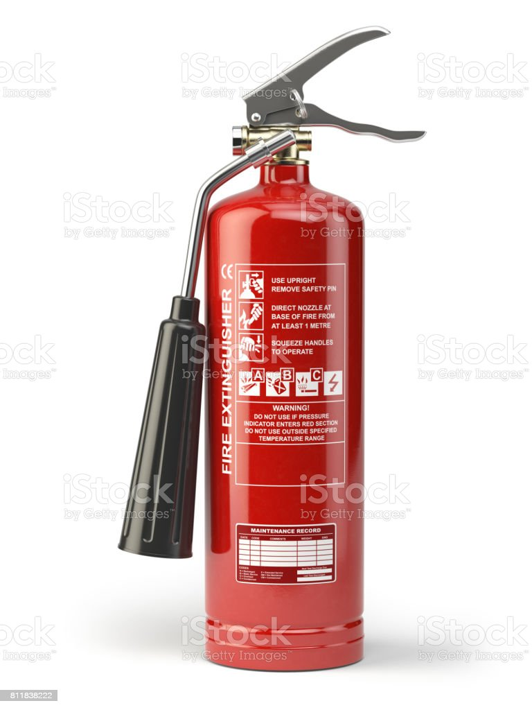 Fire extinguisher isolated on white background. stock photo