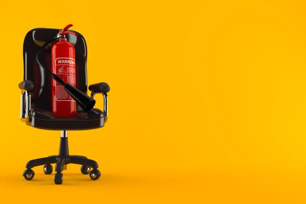 Fire extinguisher on business chair Fire extinguisher on business chair isolated on orange background. 3d illustration extinguishing stock pictures, royalty-free photos & images