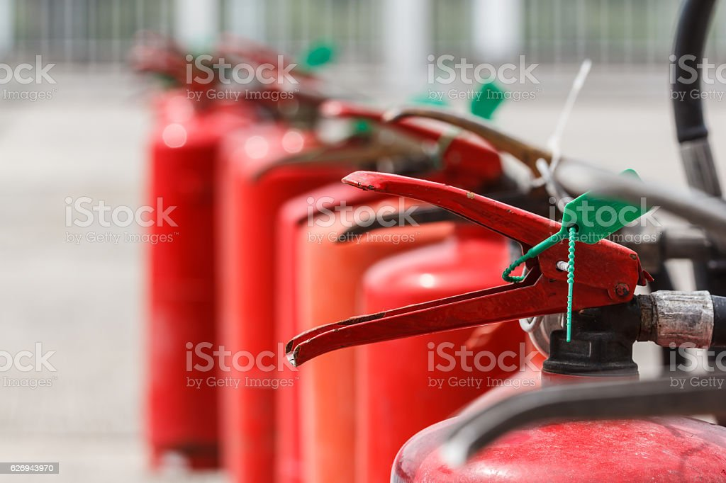 Fire extinguisher red tank in outdoor – Foto