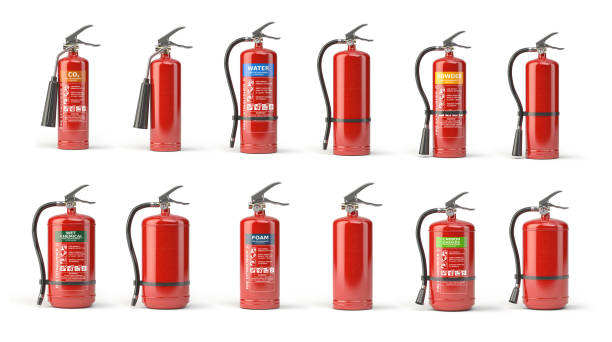 Fire extinguisher set  of different types isolated on white. stock photo