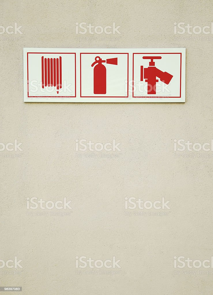 Fire extinguisher sign royalty-free stock photo