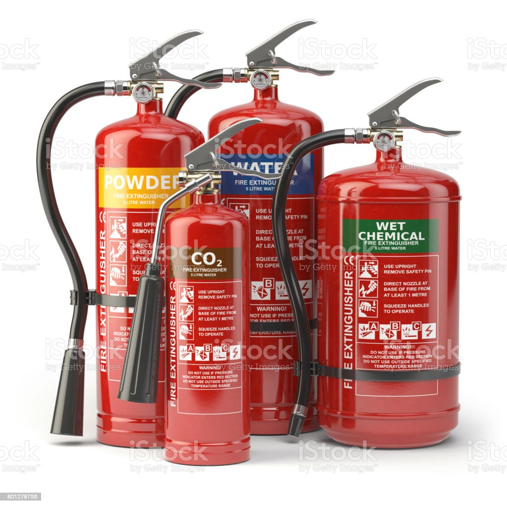 Fire extinguishers isolated on white background. Various types of extinguishers. stock photo