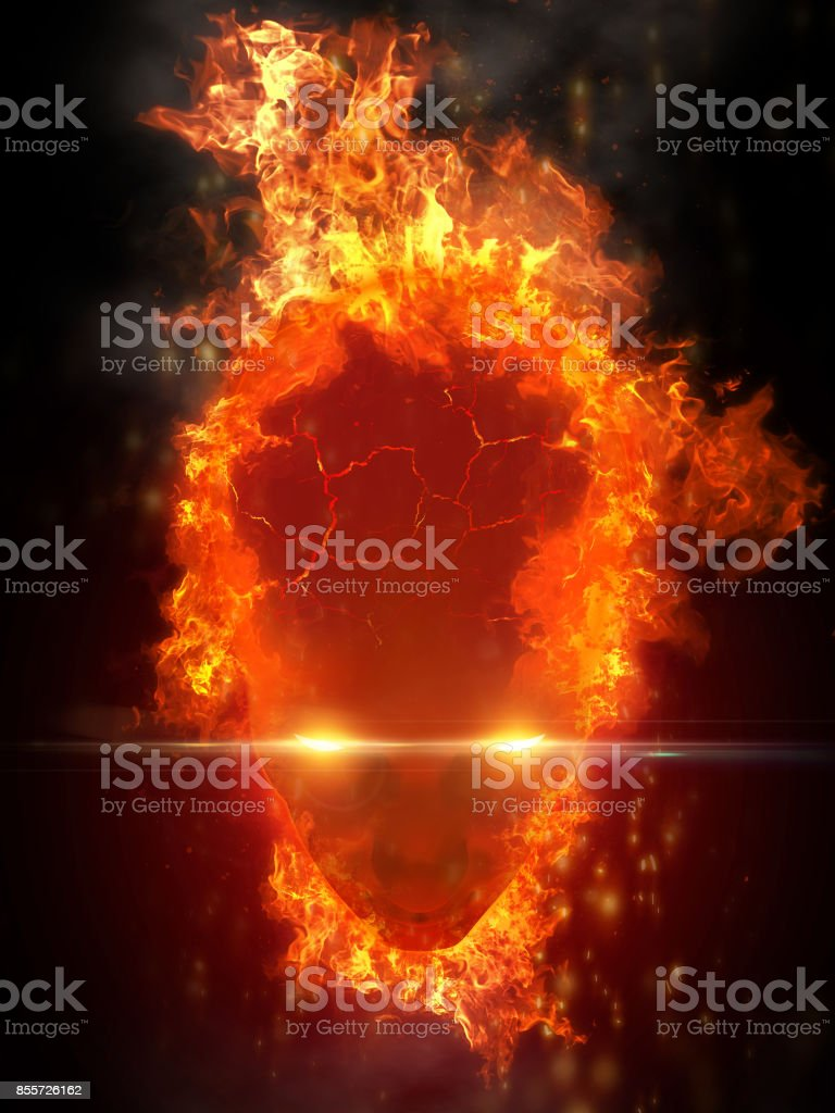 Fire face on black background. stock photo