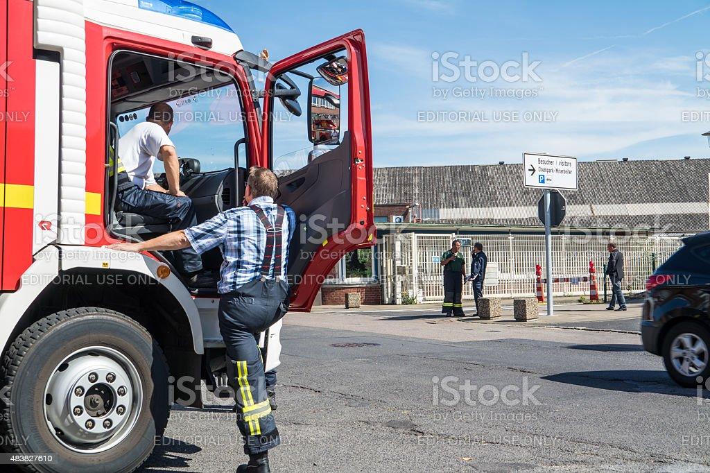 Fire fighter arriving short after the explosion at Chempark Uerdingen stock photo