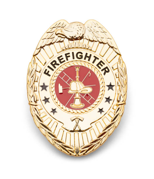 Fire Fighter Badge Gold Fire Department Badge Isolated on White. insignia stock pictures, royalty-free photos & images