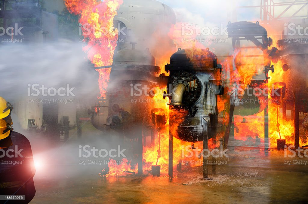fire fighter, firefighter industry. stock photo
