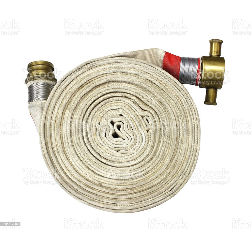 fire fighter hose isolated on the white background royalty-free stock photo
