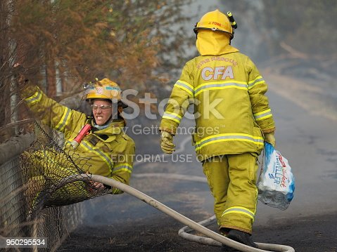 1195174769istockphoto Fire fighters at a fence during a bush fire in an suburban area of Knox City in Melbourne east. 950295534