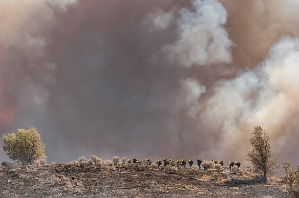 Fire Fighters Walking Up Smoldering Ridge Group of firefighters walking up a smoldering hill towards the out of control wildfire burning in the mountains north of Los Angeles. smoke jumper stock pictures, royalty-free photos & images