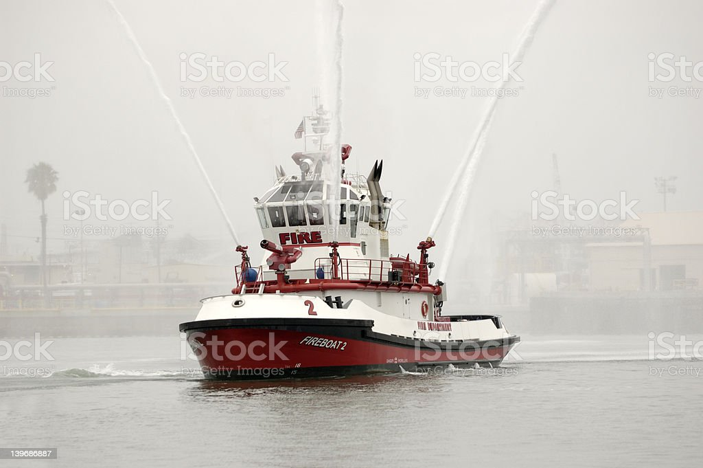 Fire Fighting Boat stock photo