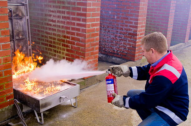Fire Fighting Demonstration stock photo