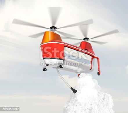 istock Fire fighting drone flying in the sky 539358932