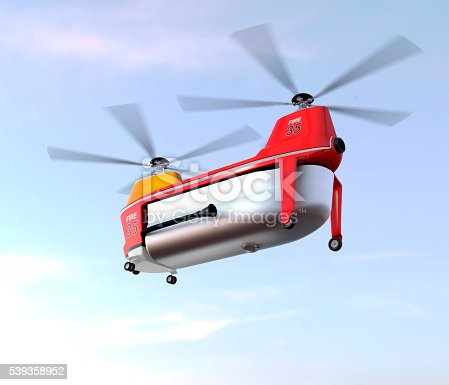 istock Fire fighting drone flying in the sky 539358952
