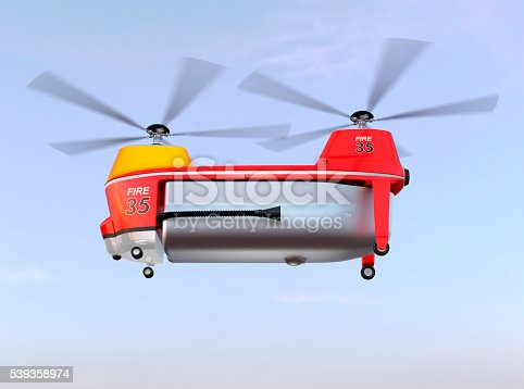 istock Fire fighting drone flying in the sky 539358974