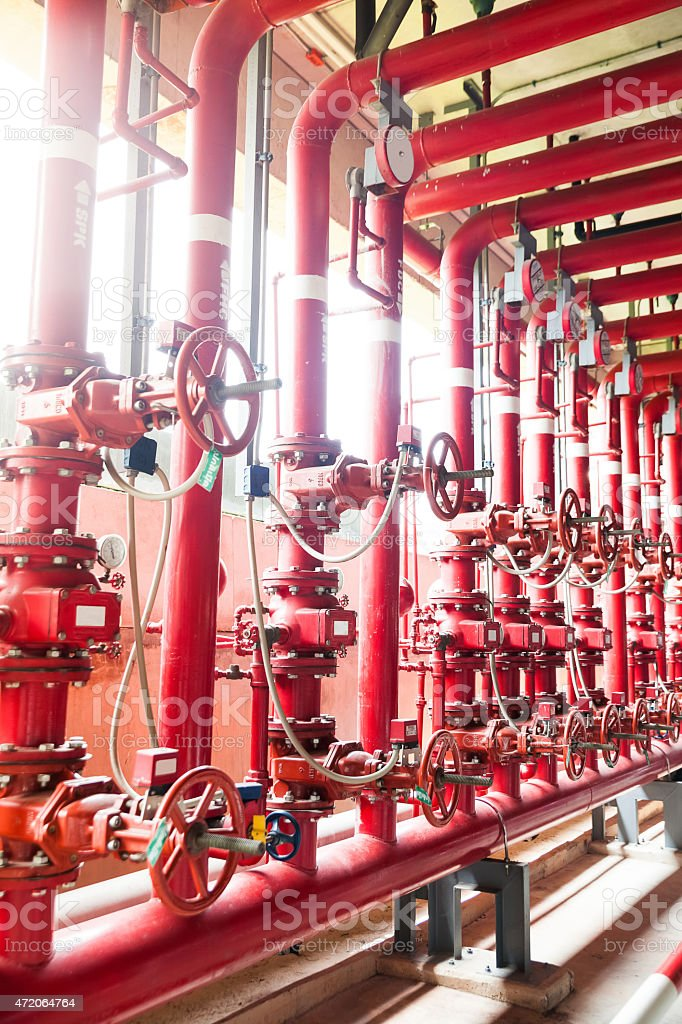 fire fighting water supply pipeline system stock photo