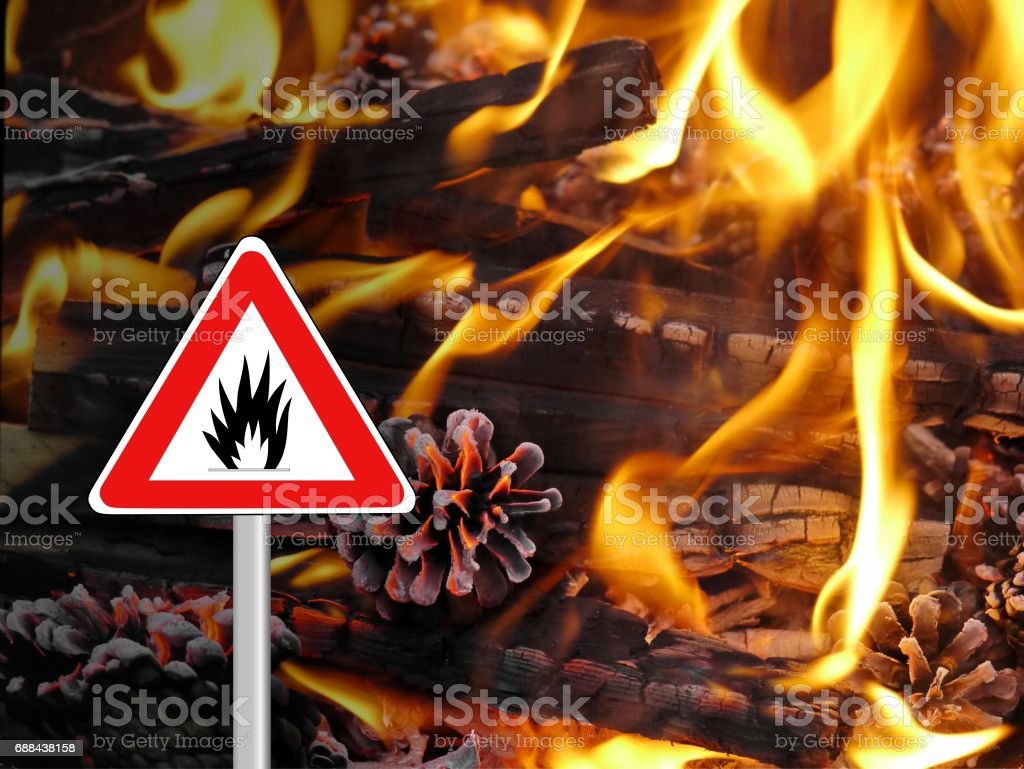 Feuer Brand Gefahr Schild stock photo