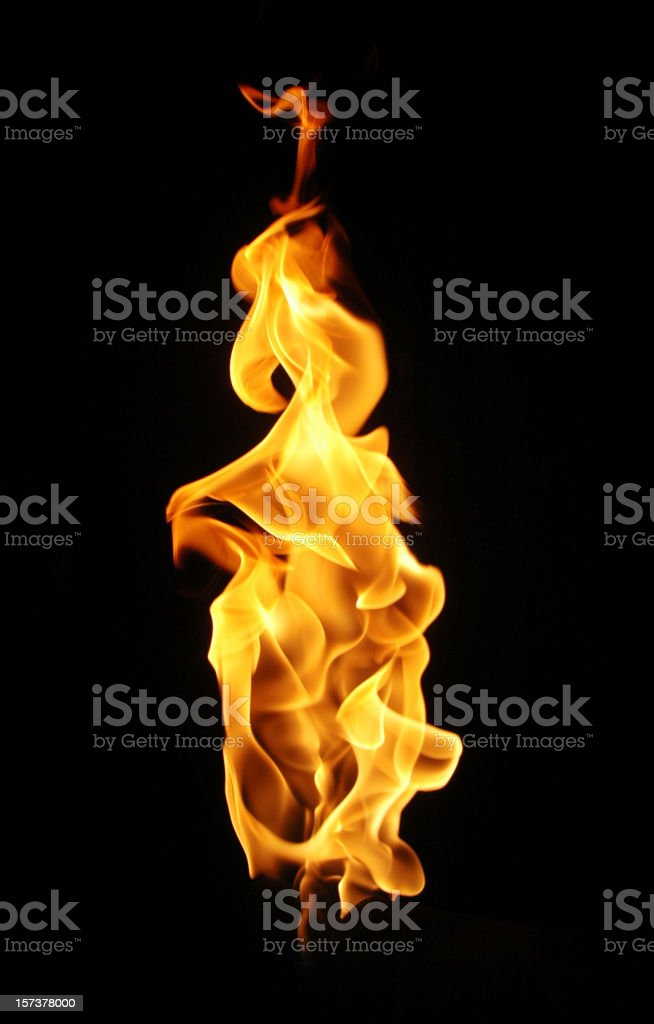 fire flame against black background. stock photo
