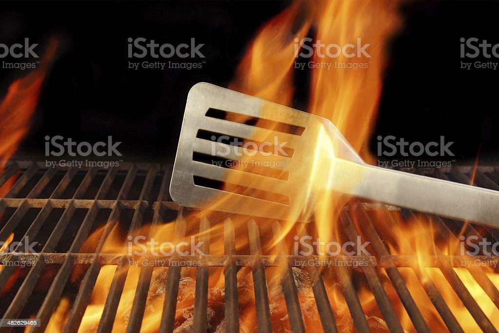 BBQ Fire Flame Hot Grill Spatula, XXXL stock photo