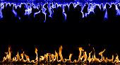 Fire Flame Frame on Black Background