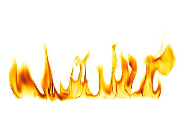 fire flame isolated over white background - vlam stockfoto's en -beelden