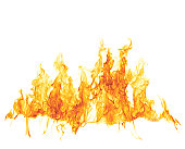 Abstract white background with single fire flame isolated