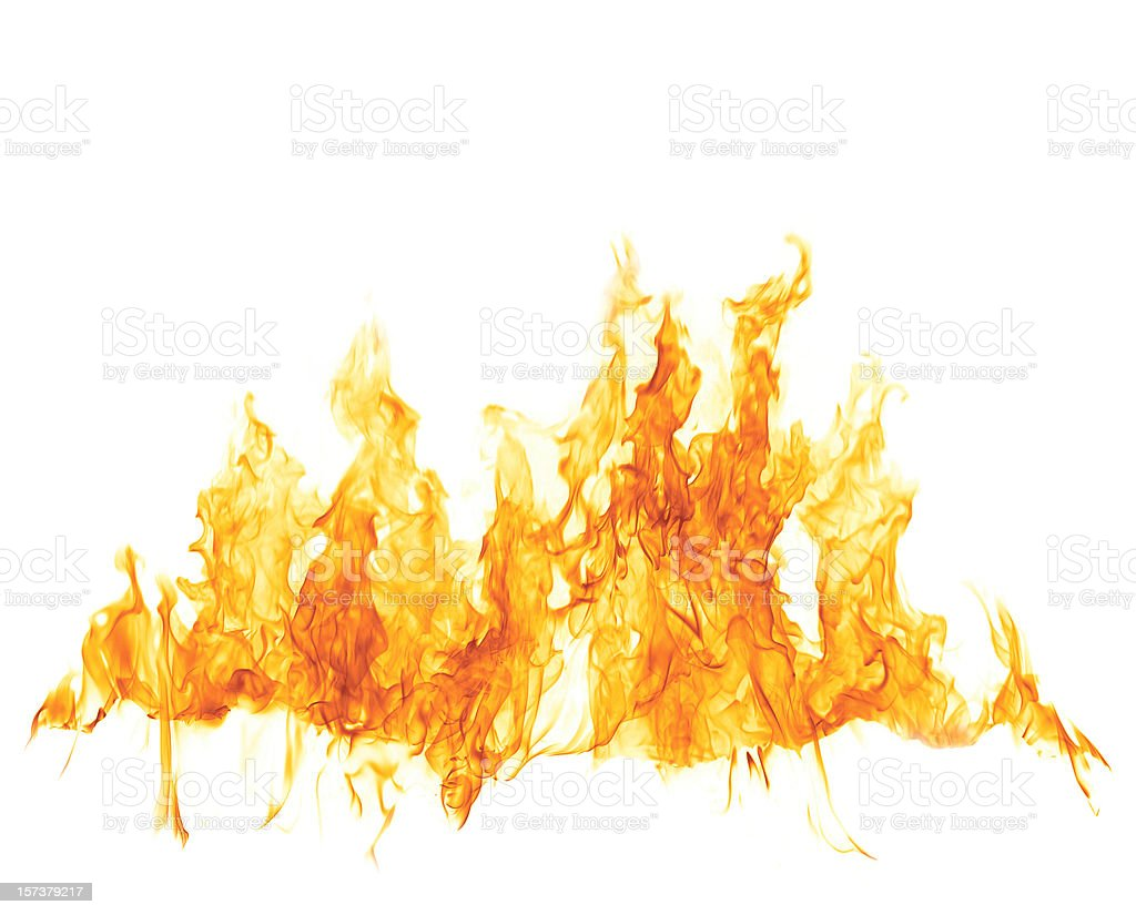 Fire Flame On White stock photo